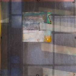 """PASSAGES 23 (vellum 1 side 1) (2015) by Lisa Pressman / 12""""x12"""" / Oil, photography on tissue and vellum"""