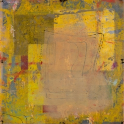 """PASSAGES 24 (vellum 2 side 2) (2015) by Lisa Pressman / 12""""x12"""" / Oil, photography on tissue and vellum"""