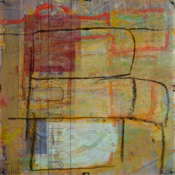 """PASSAGES 25 (vellum 3 side 2) (2015) by Lisa Pressman / 12""""x12"""" / Oil, photography on tissue and vellum"""