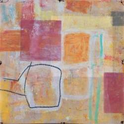 """PASSAGES 26 (vellum 4 side 2) (2015) by Lisa Pressman / 12""""x12"""" / Oil, photography on tissue and vellum"""
